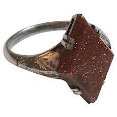 Vintage Engraved Sterling Silver Goldstone Ring