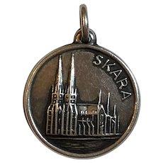 Vintage Scandinavian 1978 Mema 830 Silver Skara Cathedral Small Pendant or Charm Sweden