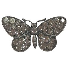 Antique German Knoll and Pregizer 935 Sterling Silver Paste Butterfly Brooch Germany