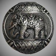 Vintage German Art Deco Gustav Hauber 930 Sterling Silver Elephant Snuff Trinket Box Germany