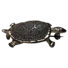 Vintage German Theodor Fahrner Sterling Silver Gilt Turtle Brooch Germany