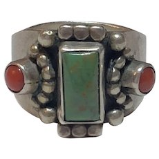 Vintage Native American Signed AM Sterling Silver Turquoise & Coral Ring