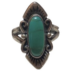 Vintage Native American Bell Trading Post Sterling Silver Turquoise Ring