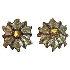 Vintage French Andrée Bazot Paris Enamel Copper & Glass Sunburst Clip On Earrings