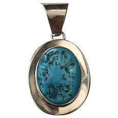 Vintage Native American Jubal B. Sterling Silver Turquoise Pendant