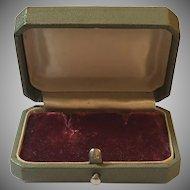 Vintage Green Leatherette Exterior & Red Velvet Interior Earrings Presentation Box