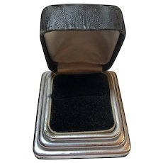 Vintage Art Deco Arrow Black & Silver Tone Ring Presentation Box