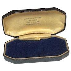 Vintage J. Weinstein & Co. Jewelers Richmond VA Black Leatherette & Blue Velvet Jewelry Presentation Box