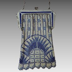 Vintage Art Deco Whiting & Davis Elasah Blue & Off White Enamel Mesh Purse