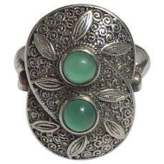 Vintage German Art Deco Theodor Fahrner Sterling Silver Chrysoprase Ring Germany