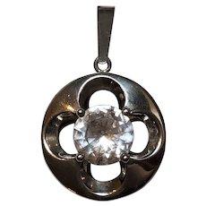 Vintage Modernist Hermann Siersbol Sterling Silver Rock Crystal Pendant