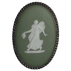 Vintage Wedgwood Sterling Silver Gilt Green Jasperware Brooch