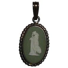 Small Vintage Wedgwood Sterling Silver Green Jasperware Pendant