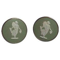 Vintage 1983 Wedgwood Sterling Silver Gilt Green Jasperware Pierced Earrings