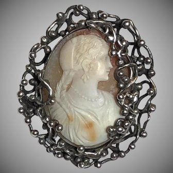Vintage Arts & Crafts Mary Gage Sterling Silver & Carved Cameo of Woman With Braided Hair Brooch