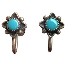 Vintage Bell Trading Post Sterling Silver Turquoise Screw On Earrings