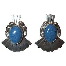 Native American Signed SE Sterling Silver Sodalite Earrings