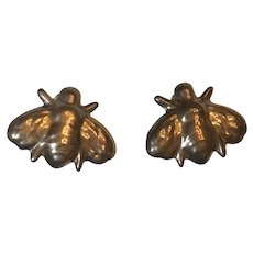 Vintage Sterling Silver Bumblebee Bee Clip On Earrings Mexico