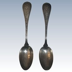 Set of 2 Antique John Wendt Bird Pattern Sterling Silver Spoons
