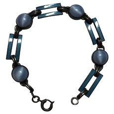 Vintage Art Deco Sterling Silver Blue Enamel & Glass Cabochon Bracelet