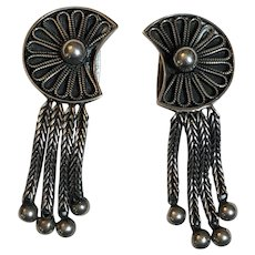 Vintage German Gustav Hauber 835 Silver Dangle Clip On Earrings