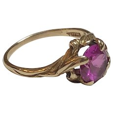 Vintage Strellman 14k Yellow Gold Hibiscus Synthetic Ruby Ring