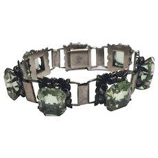 Vintage 900 Silver Uranium Glass Bracelet