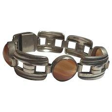 Vintage 835 Silver Agate Bracelet