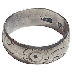 Antique Victorian Sterling Silver Flower Design Band Ring