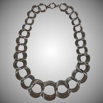 Vintage Henry S. Bick Graduated Sterling Silver Choker Necklace