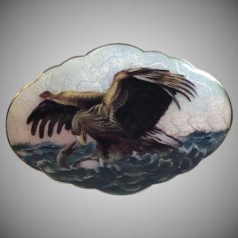 Antique Gustav Gaudernack Norwegian Sterling Silver Guilloche Enamel Eagle & Prey Brooch Norway