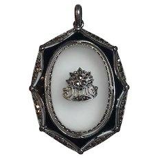 Vintage German Art Deco Theodor Fahrner Sterling Silver Rock Crystal, Marcasite & Black Enamel Pendant Germany