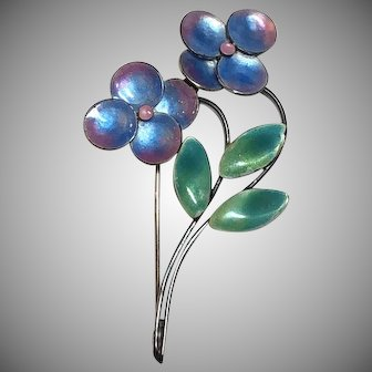 Vintage Bernard Instone Sterling Silver Blue & Pink Enamel Flower Brooch