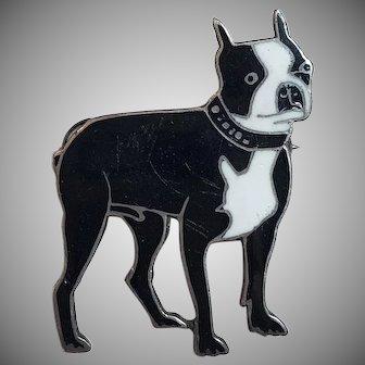 Vintage Thomae Co. Sterling Silver Black & White Enamel Boston Terrier Dog Brooch