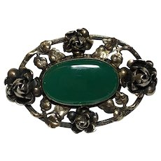 Vintage German Sterling Silver Gilt Rose Flower Chrysoprase Brooch Germany