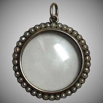 Antique Murrle Bennett 9k Gold Seed Pearl Locket Pendant