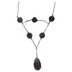 Vintage Chinese Sterling Silver Carved Amethyst Shou Bead Necklace