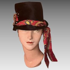 f156ab93f59 Vintage 1970s Yves Saint Laurent YSL Straw Hat Floral and Black ...