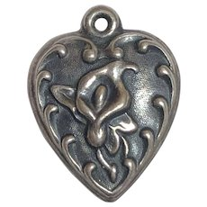 Vintage Sterling Silver Calla Lily Flower Puffy Heart Charm