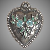 Vintage Sterling Silver Blue Enamel Forget Me Not Flower Puffy Heart Charm