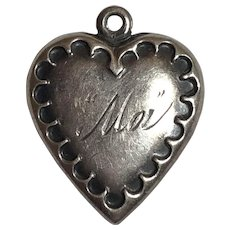 """Vintage Sterling Silver Engraved """"Moi"""" Puffy Heart Charm"""