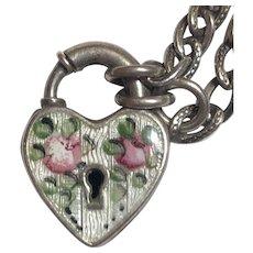 Vintage Sterling Silver Enamel Rose Flower Lock Heart Charm Starter Bracelet