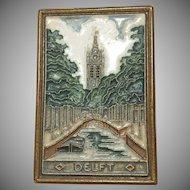 Vintage Delft Porceleyne Fles Church & Bridge Scene Tile