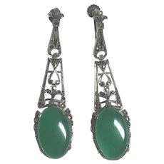 Vintage German Art Deco Sterling Silver Chrysoprase & Marcasite Screw Back Earrings Germany