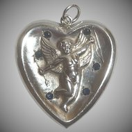 Vintage Sterling Silver Cupid Bow Arrow Blue Stone Heart Pendant