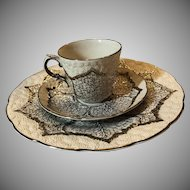 18 Piece Vintage Wedgwood Platinum Leaf Cauliflower Floret Set (6 Cups, 6 Saucers & 6 Luncheon Plates)