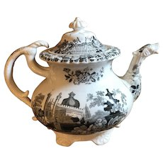 Antique 19th Century Staffordshire Black Transferware Footed Teapot With Dragon Head Spout
