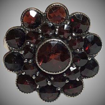 Vintage 900 Silver Garnet Ring Czechoslovakia