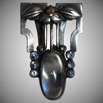 Vintage Arts & Crafts Sterling Silver & Silver Tone Moonstone & Blue Paste Dress Clip