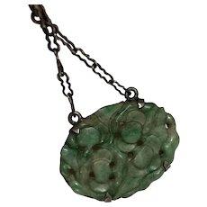 Vintage Art Deco Chinese Sterling Silver Carved Jadeite Jade Necklace